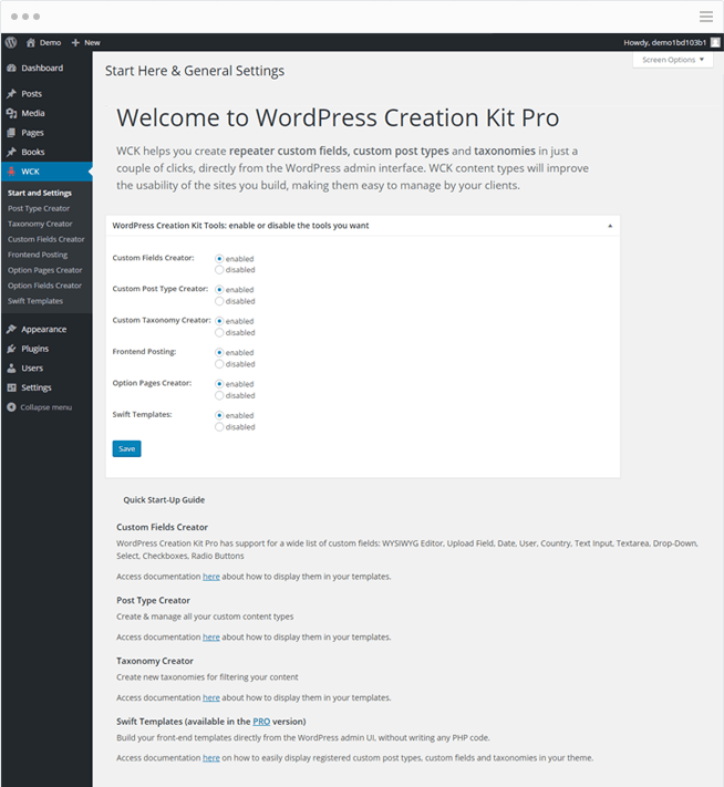 WordPress Creation Kit