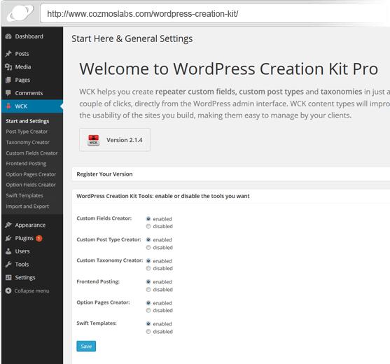 WordPress Creation Kit Custom Fields and Custom Post Types plugin