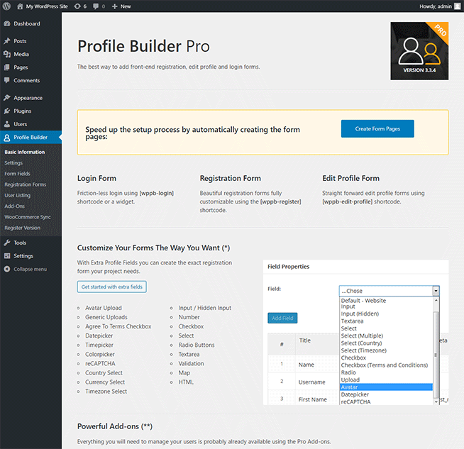 Profile Plugin Wordpress Profile Builder Pro