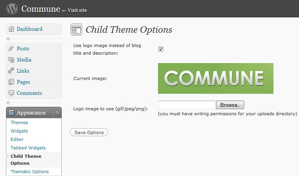 Child Theme Options Page - You now have the posibility to upload your header image from WordPress