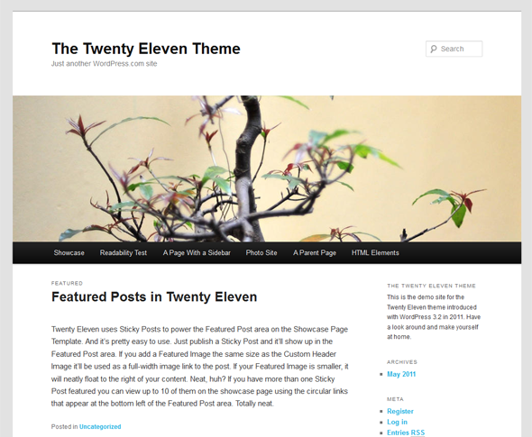 The Twenty Eleven Theme is the default WordPress theme.