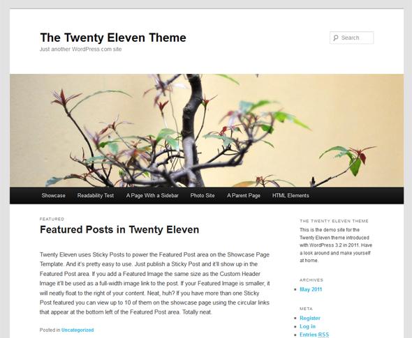 The Twenty Eleven Theme is the default WordPress theme.