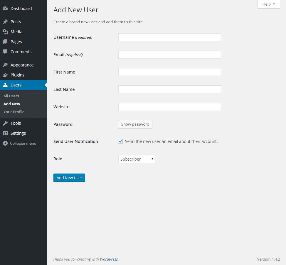 Add New User in WordPress