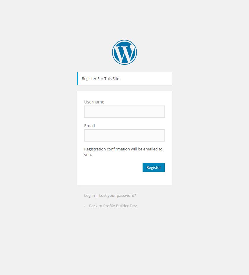 Default WordPress User Registration