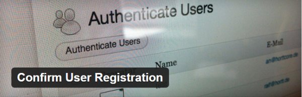 Confirm User Registration plugin