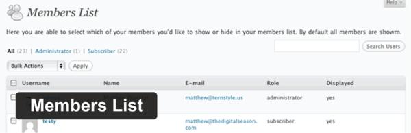 Members List plugin