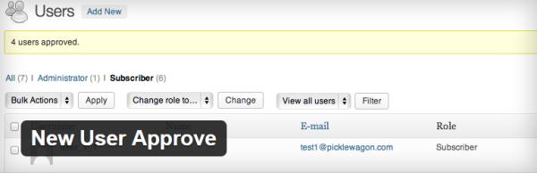 New User Approve plugin
