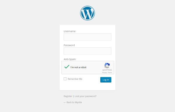 Default WordPress Login page with Recaptcha field