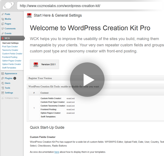 WordPress Creation Kit - Custom Fields