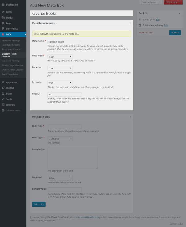WordPress Creation Kit - Custom Fields Creator feature