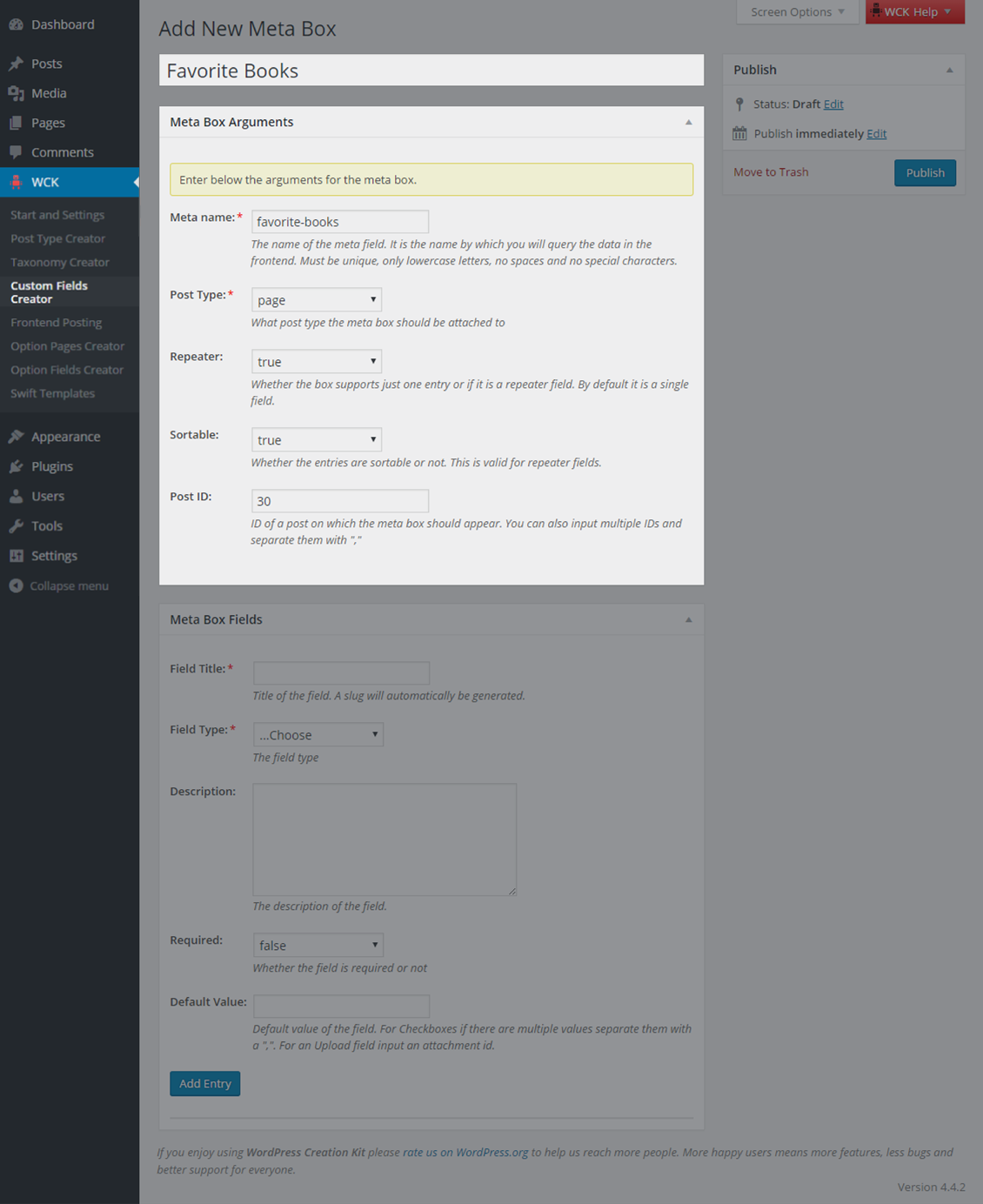 WordPress Creation Kit - Custom Fields Creator feature
