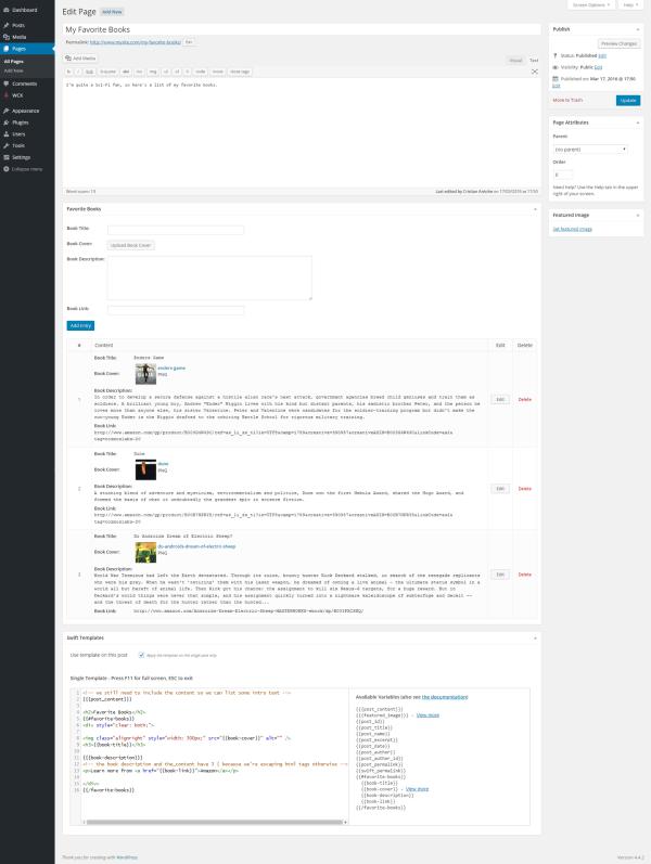 WordPress - Show Custom Fields in Page (backend)