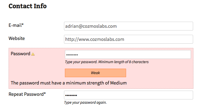 Enforcing the minimum password strength on the front-end Edit Profile page.