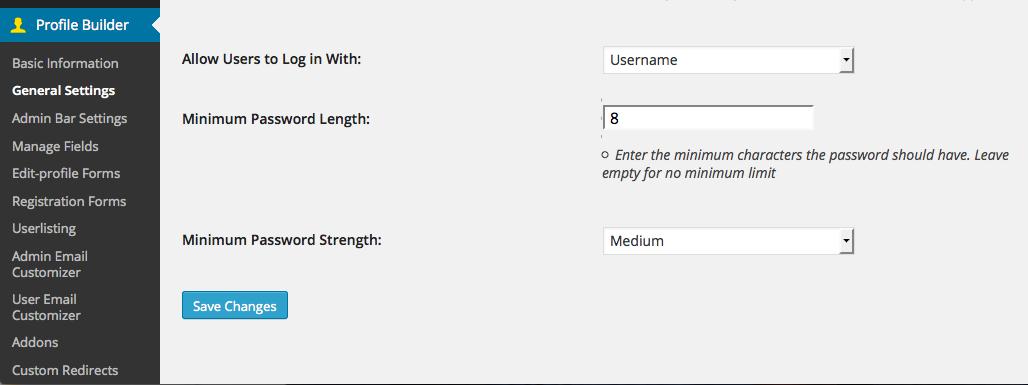 WordPress Minimum Password Length and Password Strength Meter