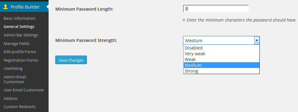 Setting a minimum password strength with Profile Builder