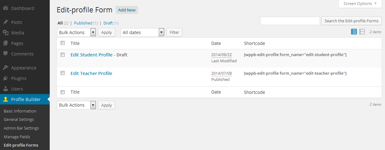 Multiple Edit Profile Forms - Cozmoslabs
