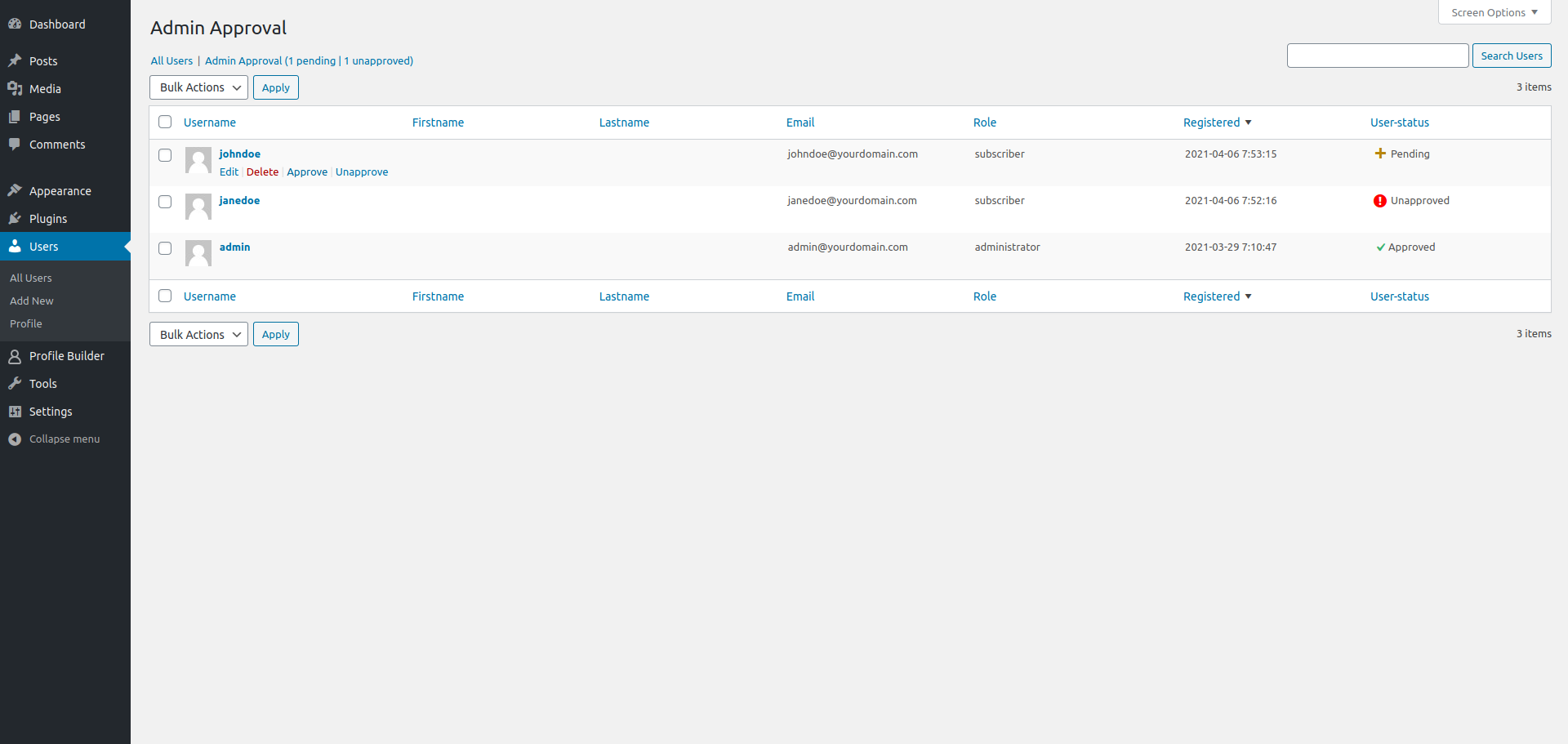 Profile Builder - Admin Approval Backend