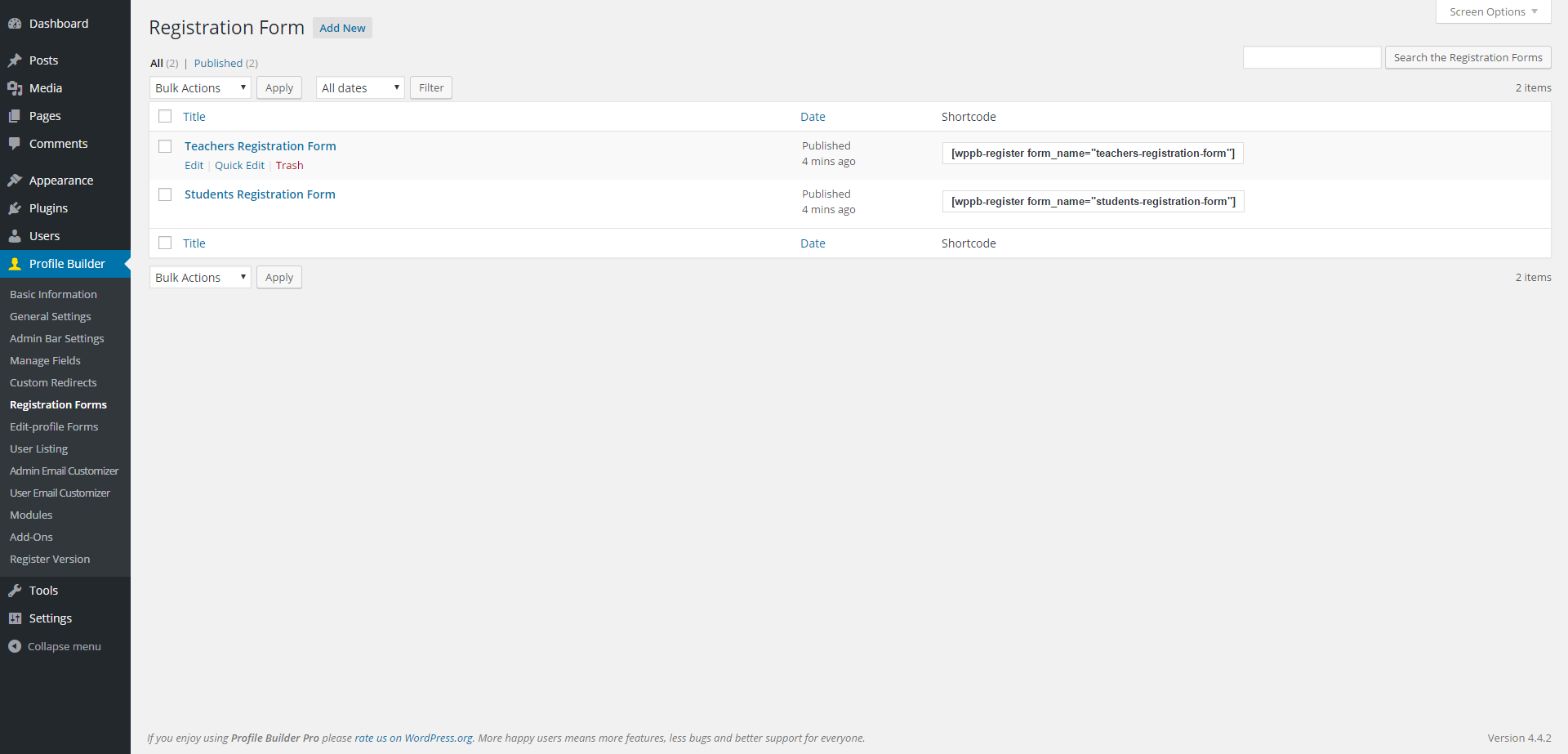 Multiple User Registration Forms with Profile Builder 2 0