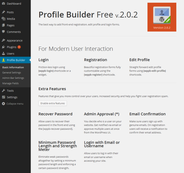 Profile Builder Free Basic Information
