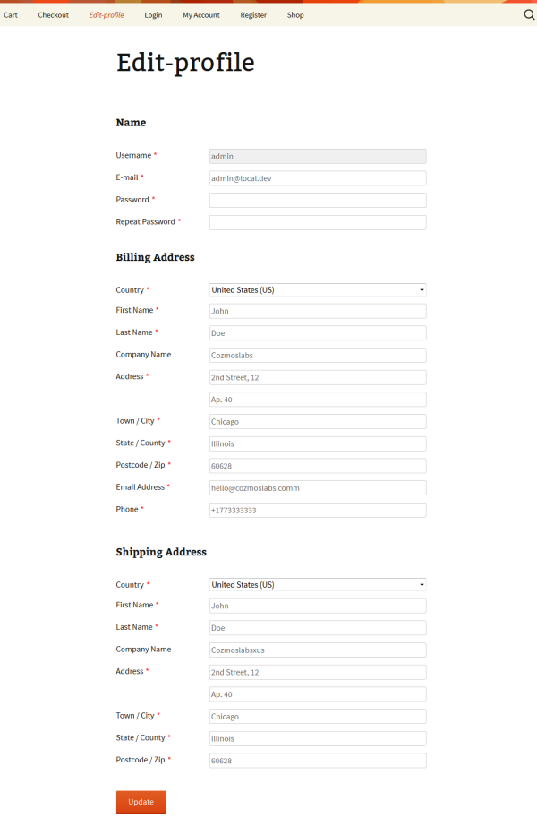 The Edit Profile page will now allow your users to update WooCommerce Shipping and Billing information