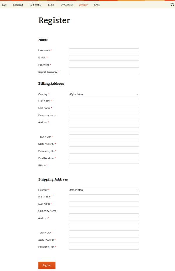 Front-end Register WooCommerce Customer Fields