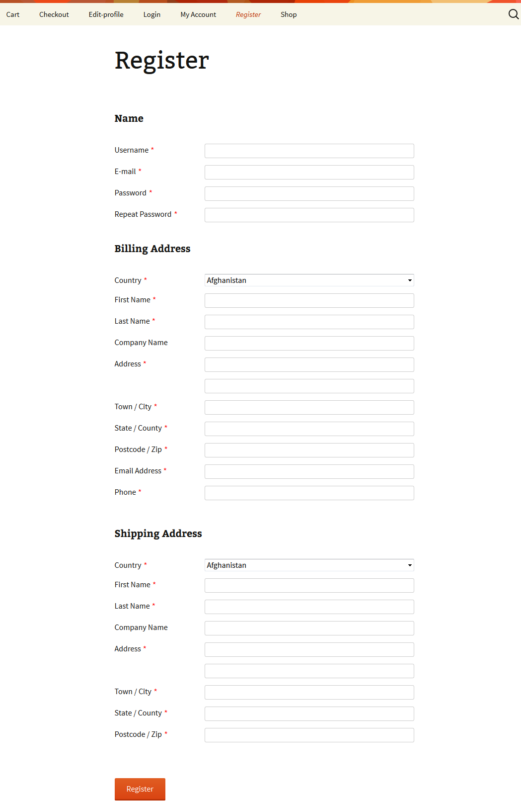 Front-end Register WooCommerce Customer Fields