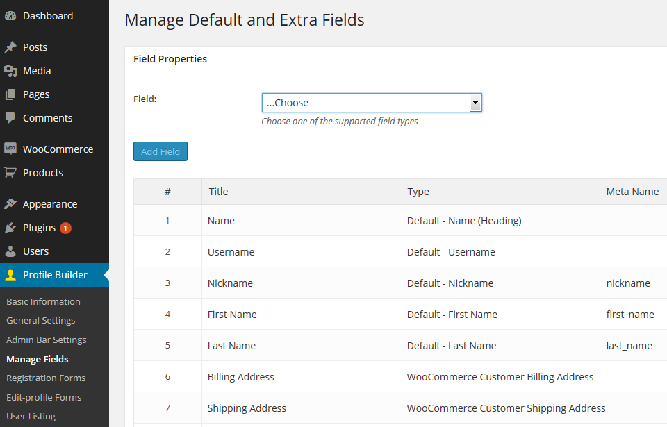 Manage WooCommerce Customer Fields on account page