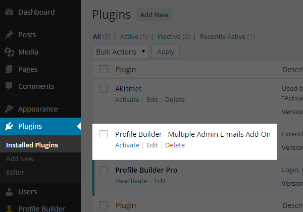 Multiple Admin Emails Add-On for Profile Builder