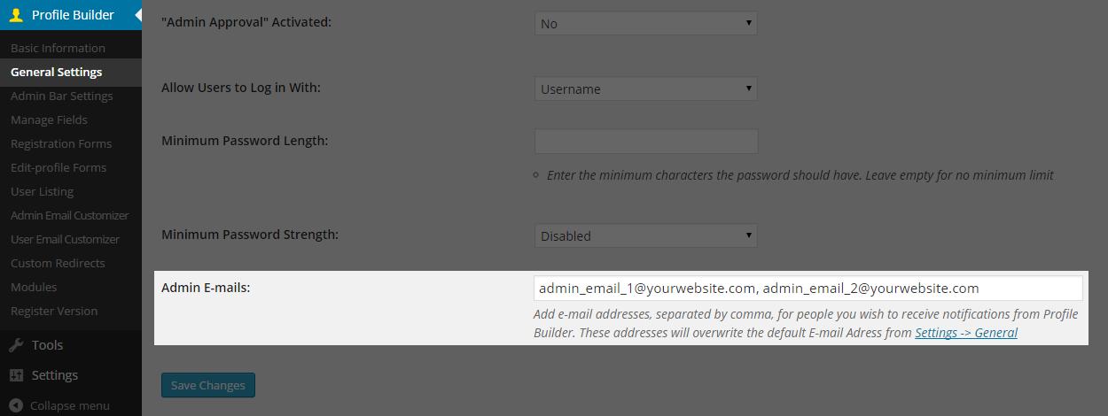 Multiple Admin E-mails Add-On for Profile Builder