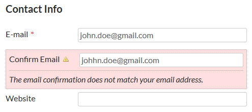 Confirm Email Error on the front-end Register form.