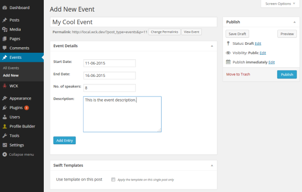 Here we're using a Single Metabox attached to an Events CPT to add event details stored in custom fields.