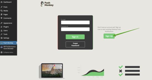 Push Monkey sign up