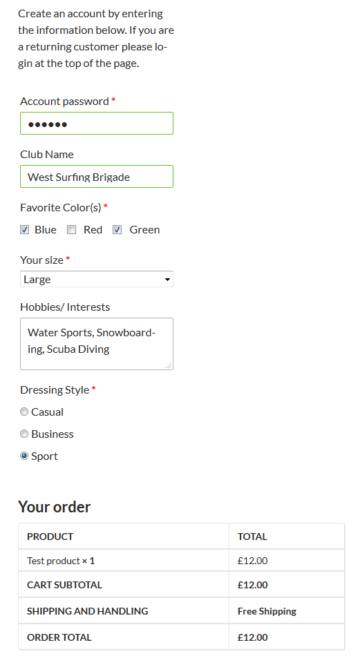 Custom Fields added with Profile Builder to the WooCommerce Checkout page