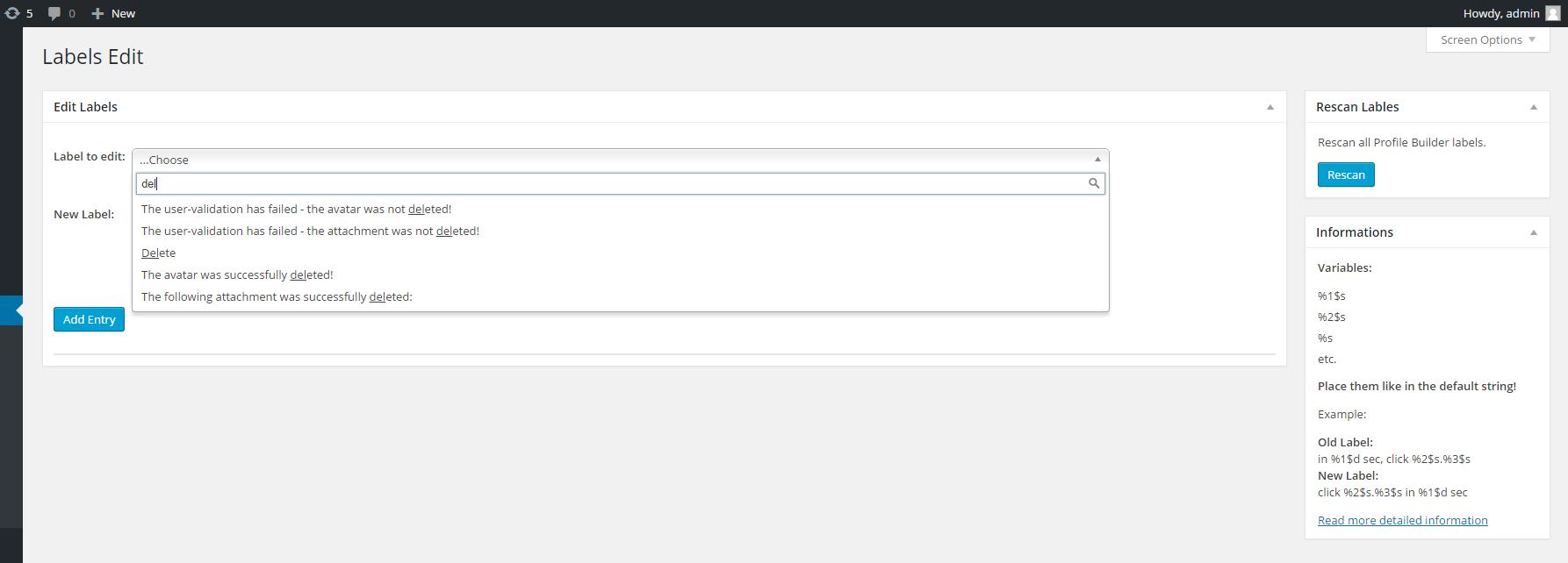 Labels Edit for Profile Builder - Cozmoslabs