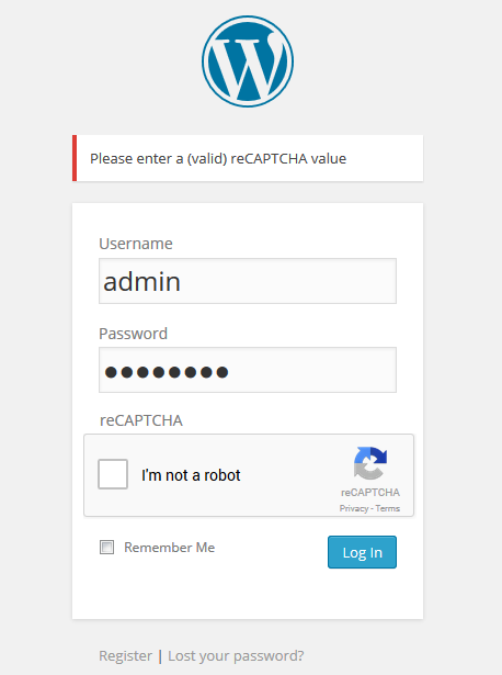 reCAPTCHA error on the back-end WordPress Login form