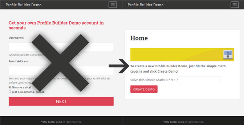 "Replace the WP signup with a ""Create Demo"" button"