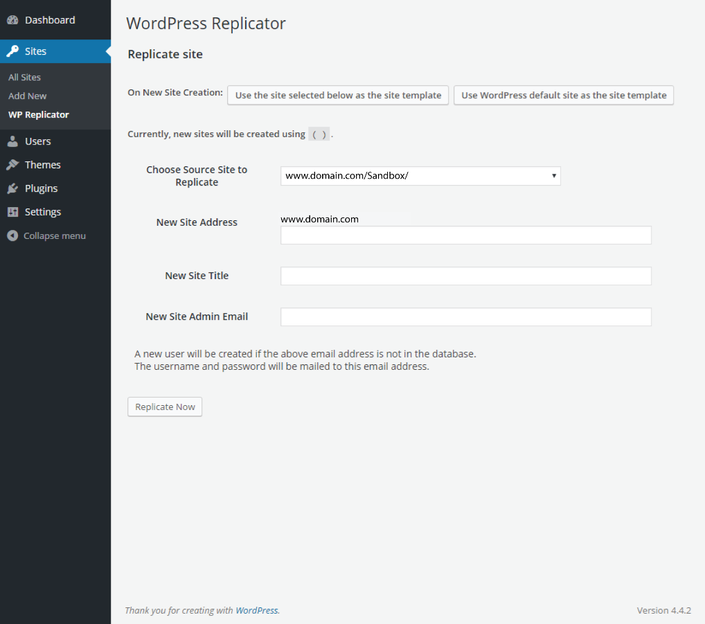 WordPress Replicator Plugin Backend