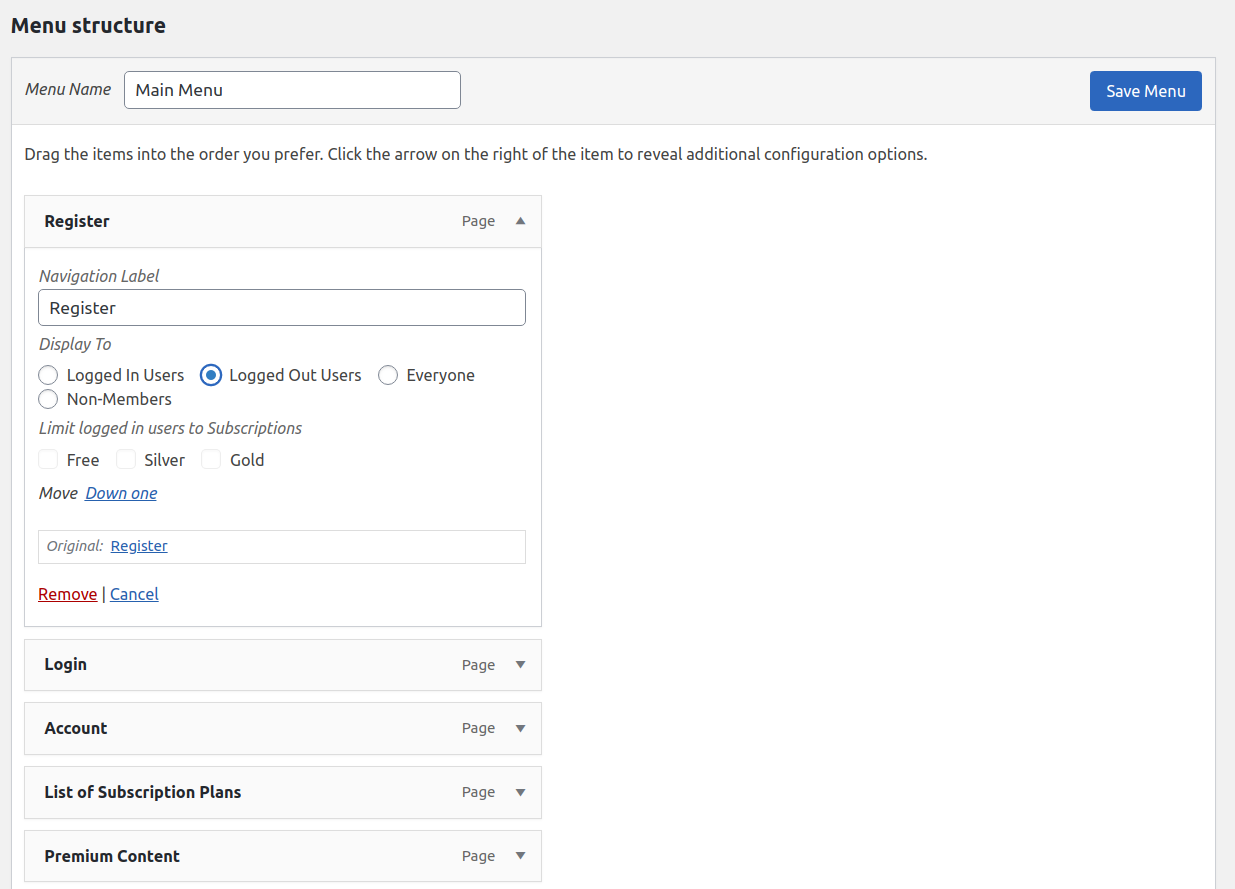 Paid Member Subscriptions Pro - Navigation Menu Filtering - Logged Out User