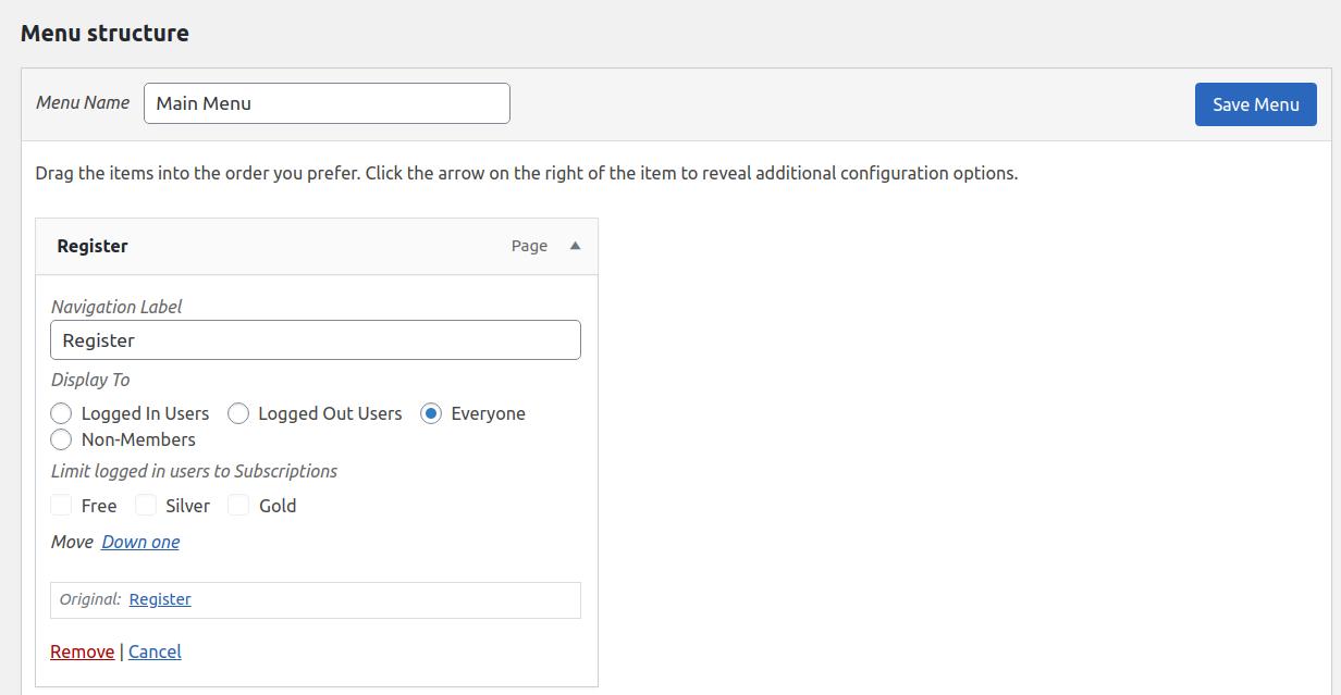 Paid Member Subscriptions Pro - Navigation Menu Filtering - Settings