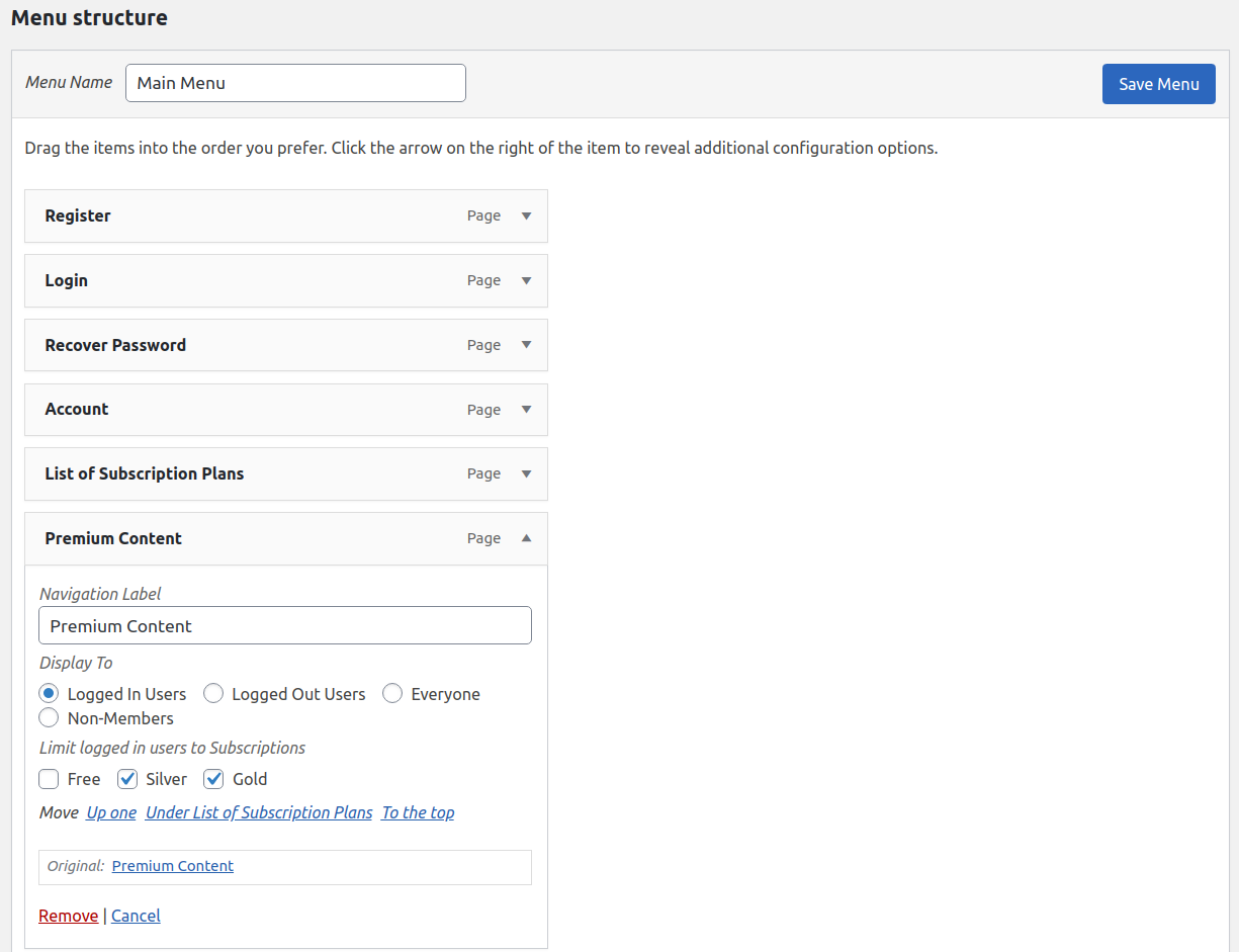Paid Member Subscriptions Pro - Navigation Menu Filtering - Restricting Premium Content Menu Item