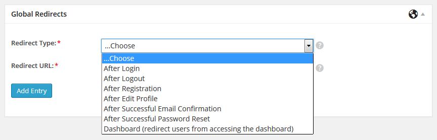 Choose redirect types for WordPress redirect after login
