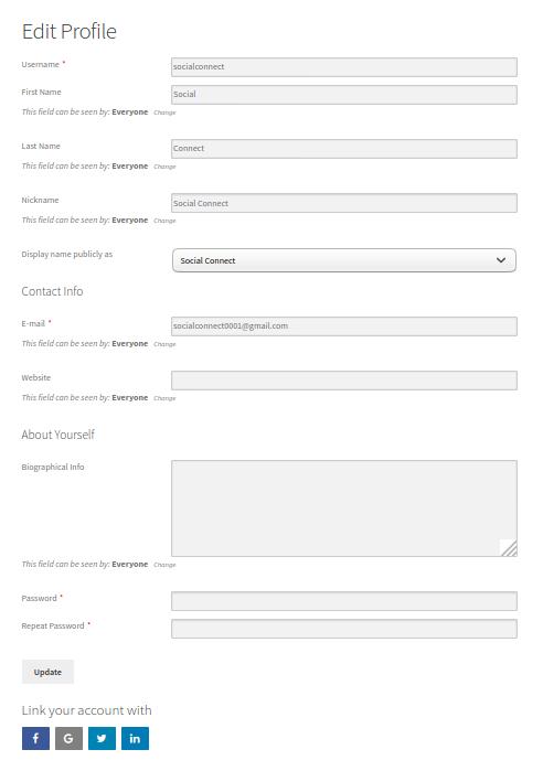 Profile Builder Pro - Social Connect - Using Social Connect - Google+ Edit Profile Form