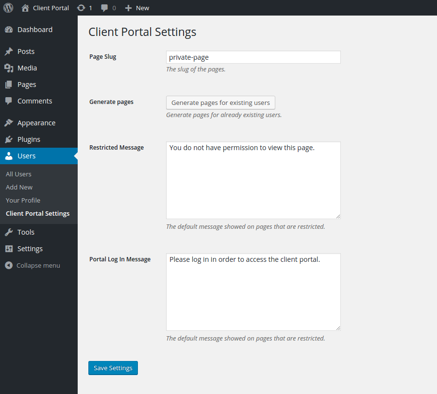 client portal settings