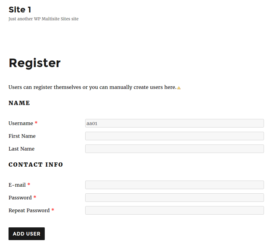 enable wordpress user registration on a subsite only