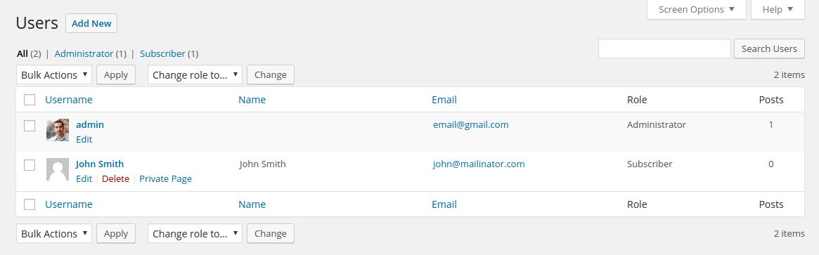 user private page