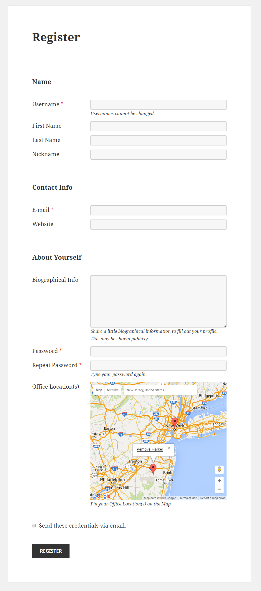 Profile Builder - Map Field Front End