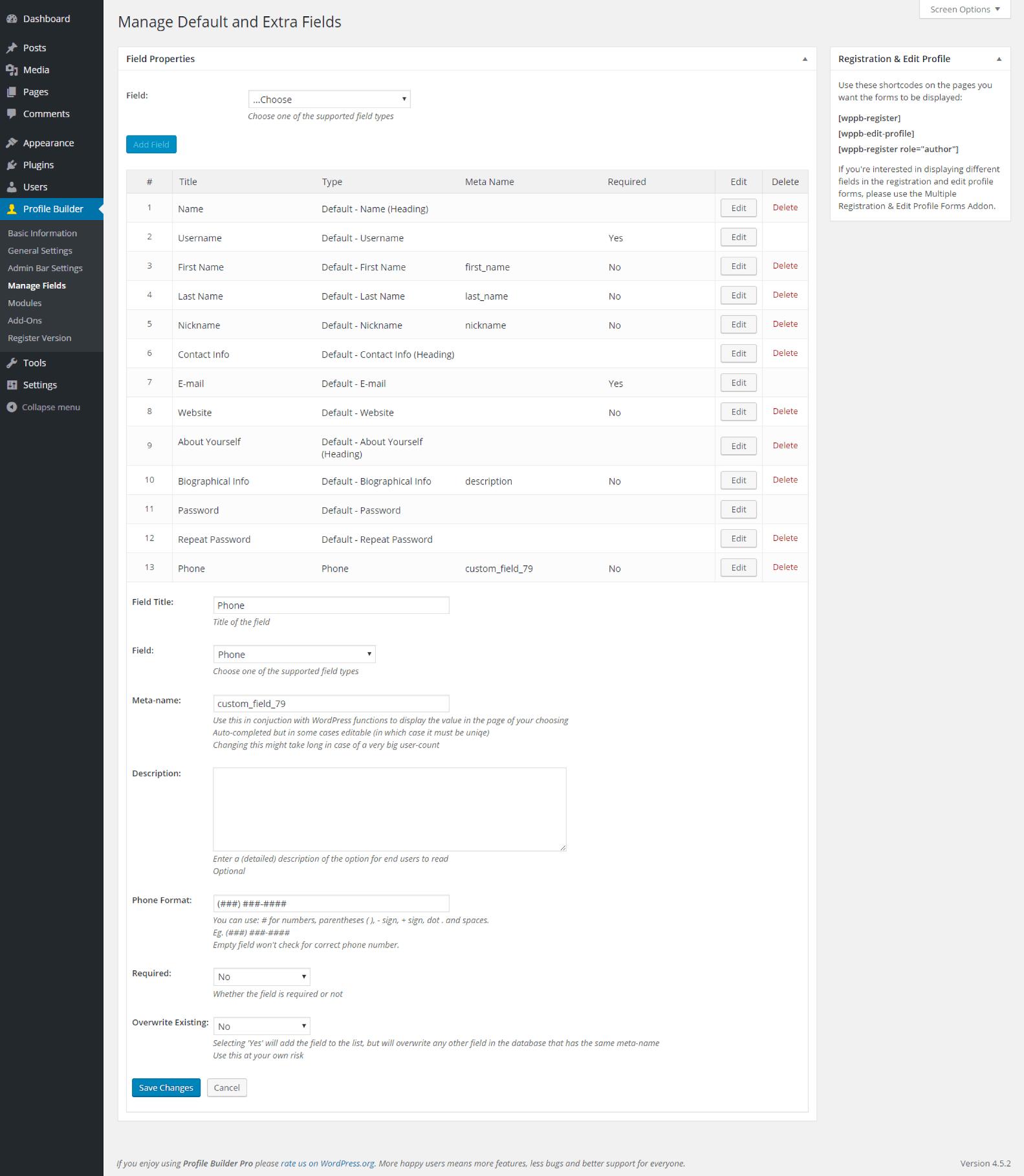 Profile Builder - Phone Field Back End