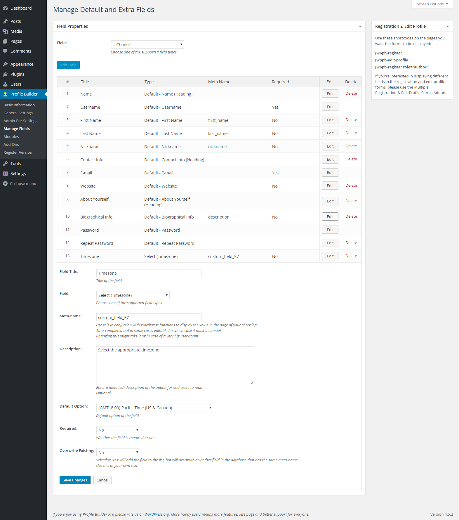 Profile Builder - Select (Timezone) Field Back End