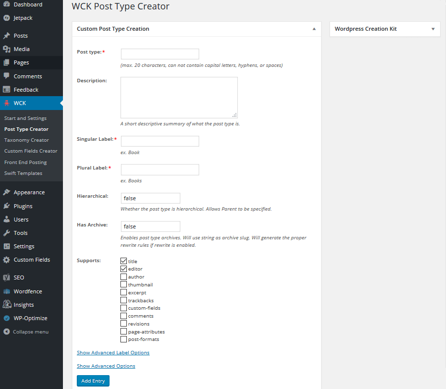 WCK - Create a Custom Post Type