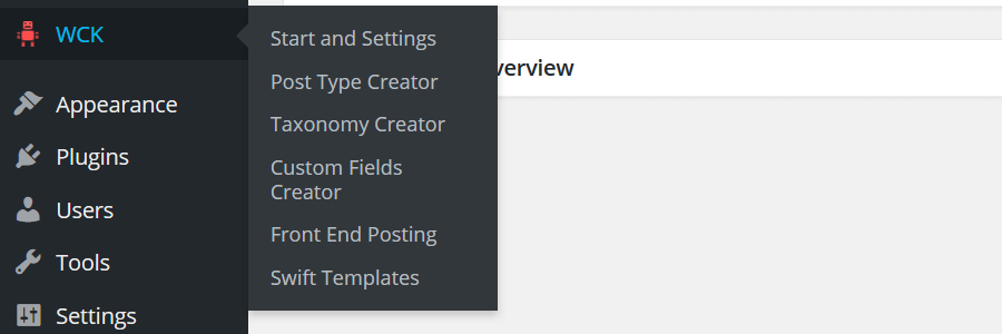WCK - WordPress Dashboard Menu Item